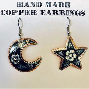 7f944ded174746 Million Charms. Copper Star & Moon wire Dangle Earring Enameled